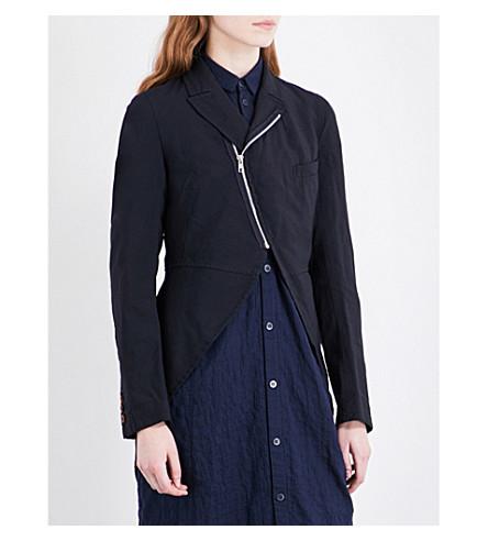 COMME COMME DES GARCONS Asymmetric zip-detail crepe jacket (Navy