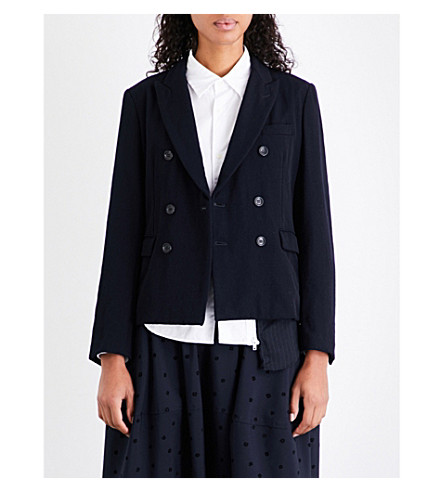 COMME COMME DES GARCONS Double-breasted wool-twill jacket (Navy