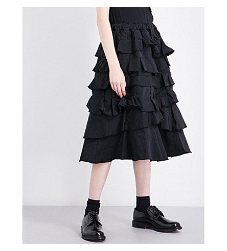 COMME COMME DES GARCONS Tiered high-rise crepe skirt (Black