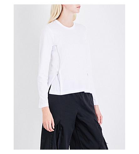 COMME COMME DES GARCONS Zip-detail cotton-jersey T-shirt (White