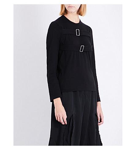 COMME COMME DES GARCONS Buckle-detail cotton-jersey top (Black