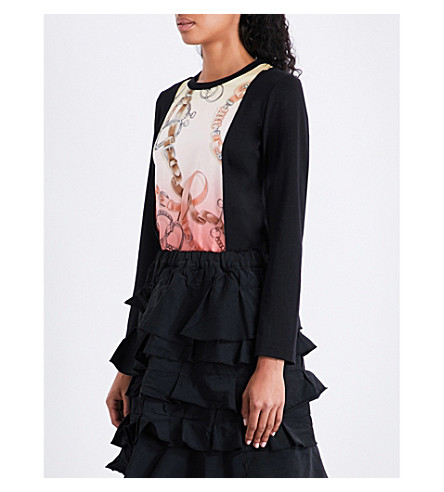 COMME COMME DES GARCONS Printed-panel wool and silk top (Black