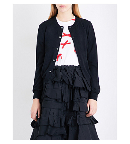 COMME COMME DES GARCONS Printed-lining wool cardigan (Black