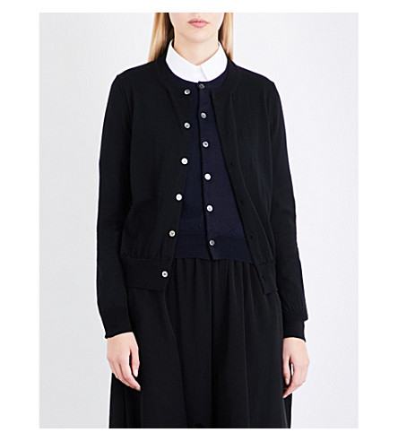 COMME COMME DES GARCONS Double-front wool cardigan (Black+navy