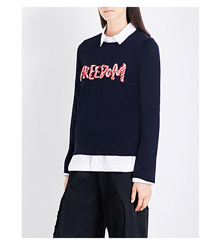 COMME COMME DES GARCONS Freedom wool-blend jumper (Navy