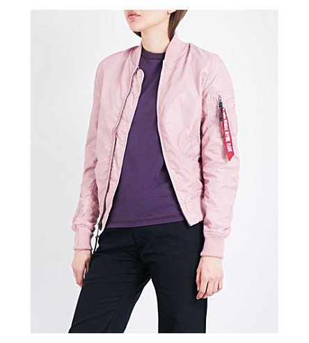 ALPHA INDUSTRIES Shell bomber jacket (Silver+pink