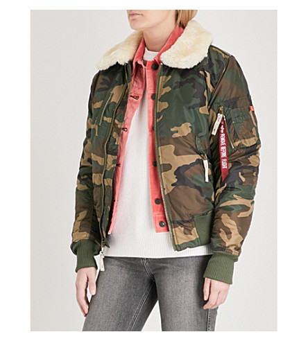 ALPHA INDUSTRIES Injector III padded shell bomber jacket (Wood+camo