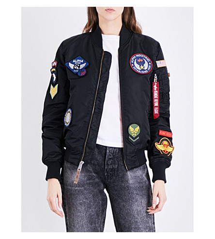 ALPHA INDUSTRIES MA-1 VF DIY shell bomber jacket (Black