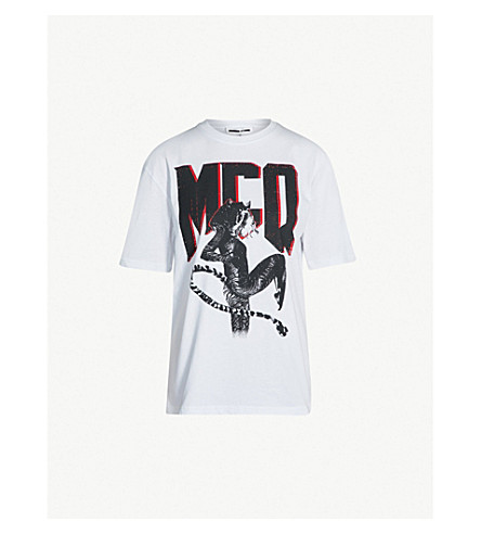 MCQ ALEXANDER MCQUEEN Graphic-print cotton-jersey T-shirt (Optic white