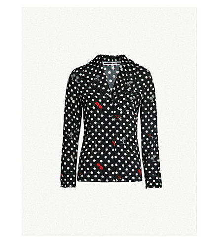 MCQ ALEXANDER MCQUEEN Polka dot-patterned woven shirt (Darkest black