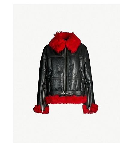 MCQ ALEXANDER MCQUEEN Contrast-lining shearling flight jacket (Black