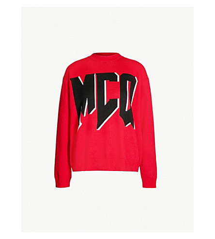 MCQ ALEXANDER MCQUEEN Graphic logo-print brushed-cotton jumper (Cadillac red
