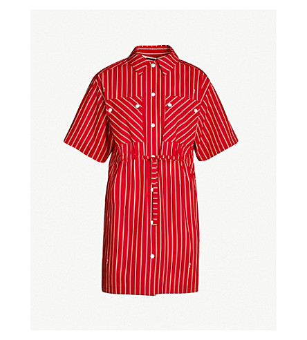 MCQ ALEXANDER MCQUEEN Striped cotton dress (Cadillac red