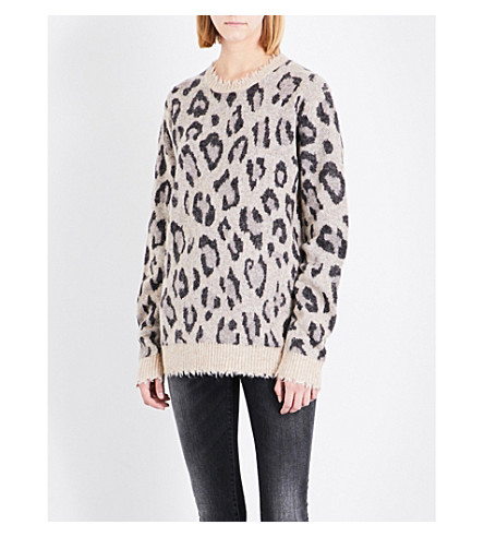 R13 Leopard-embroidered wool-blend jumper (Leopard