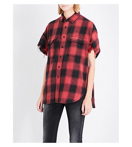 R13 Plaid linen-blend shirt (Red+plaid