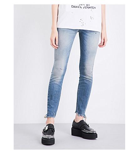 R13 Jenny frayed-hem skinny mid-rise jeans (Shiloh+w+distressed+hem