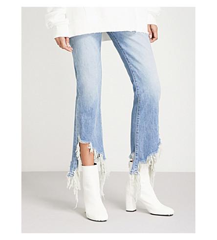 R13 Mason angled-hem kick-flare high-rise jeans (Mason+blue+torn