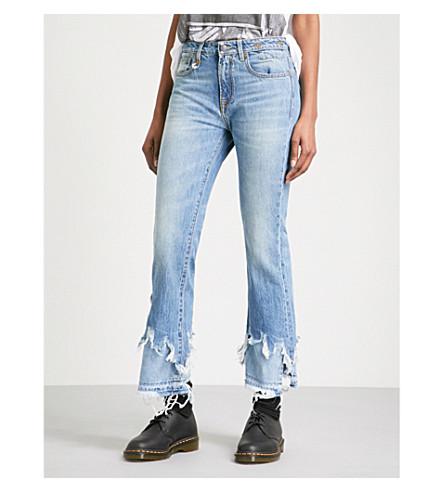 R13 Kick shredded-hem slim-fit mid-rise jeans (Jasper