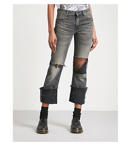 R13 Bowie cuffed regular-fit mid-rise jeans (Niles+black