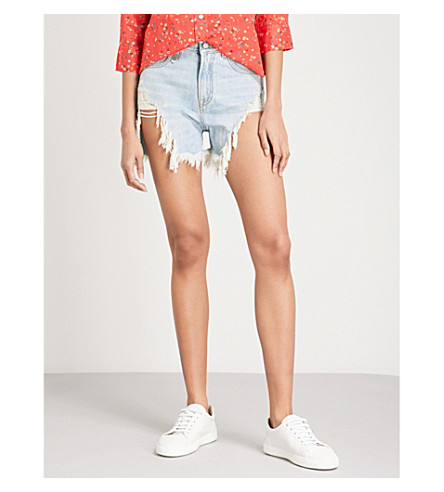 R13 Shredded Slouch slim-fit mid-rise denim shorts (Tilly