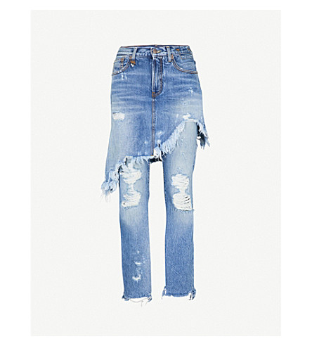 R13双经典常规版型丝中腰牛仔裤 (碧玉 + w + 撕裂