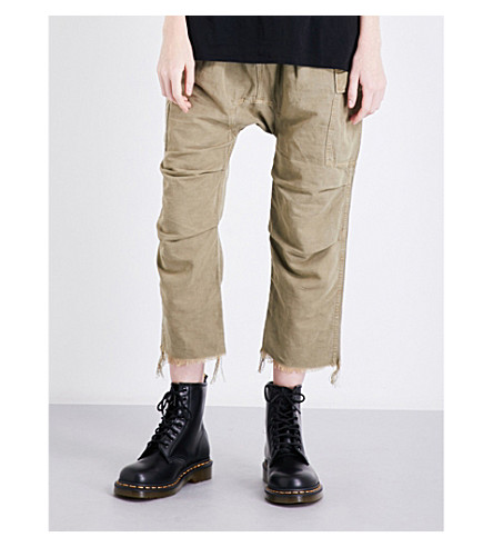R13 Cargo cotton-twill trousers (Light+olivie