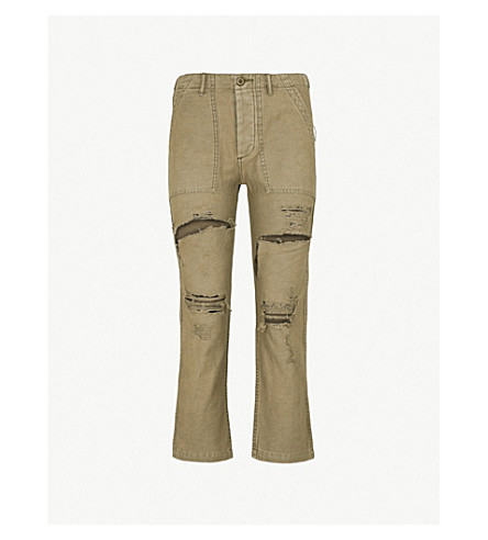 R13 Bowie slim-fit mid-rise cotton trousers (Olive