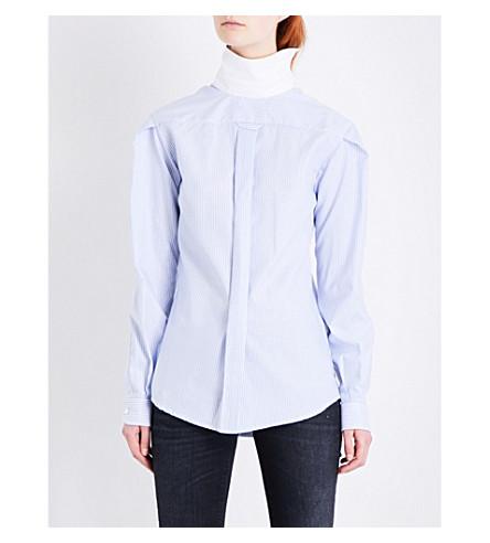 R13 Backward striped cotton shirt (Blue+stripe