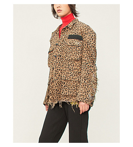 R13 Shredded leopard-print denim jacket (Leopard
