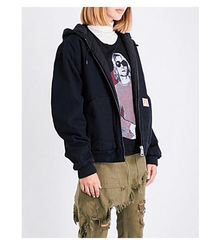 R13 Hooded cotton-twill bomber jacket (Black