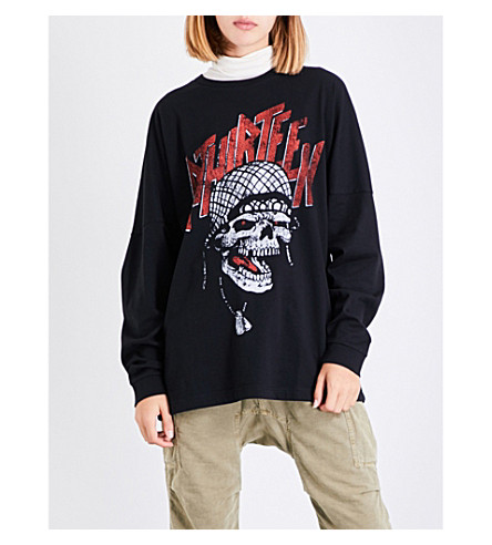 R13 Battle Punk cotton-jersey sweatshirt (Aged+black