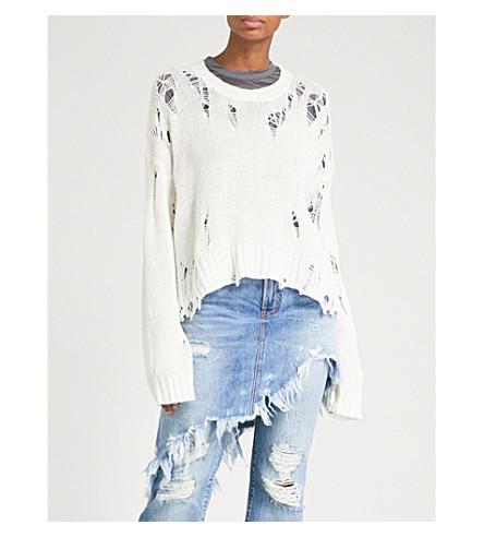 R13 Shredded cotton-blend jumper (Creme