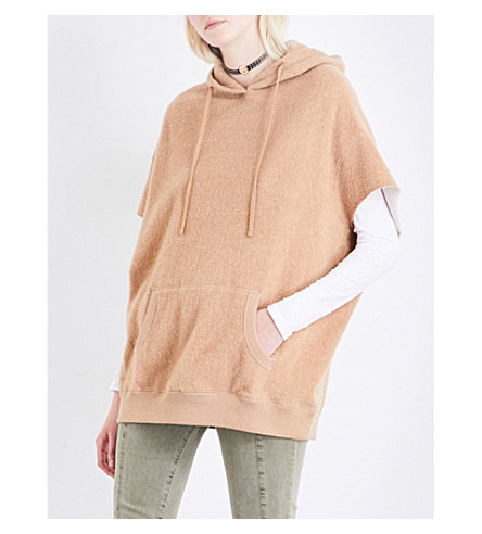 R13 Short-sleeved cotton and camel-blend hoody (Camel
