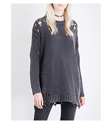 R13 Acid shredded knitted jumper (Acid+black