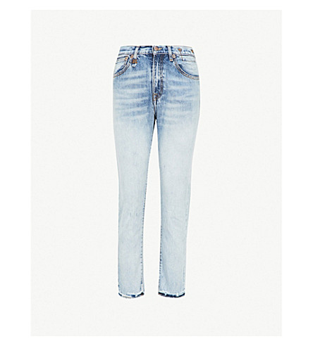 R13 Distressed skinny high-rise jeans (Blue