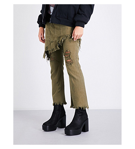 R13 Surplus straight cotton-twill trousers (Olive