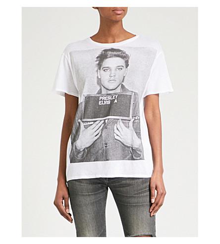 R13 Elvis Mug Shot cotton and cashmere-blend T-shirt (White