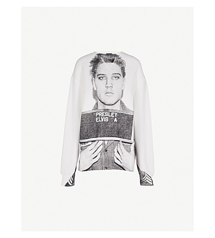R13 Elvis Mug Shot cotton-jersey sweatshirt (White