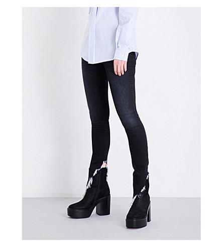 R13 Kate angled-hem skinny high-rise jeans (Dark+moon