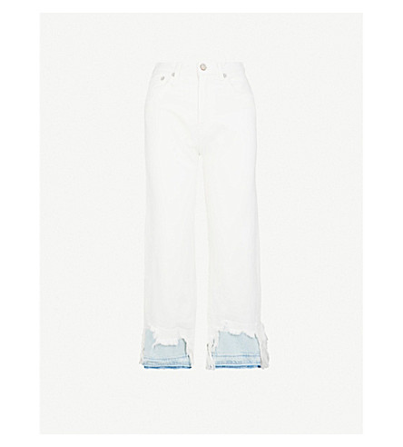 R13 Camille destroyed slim-fit straight mid-rise jeans (Willie+white