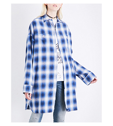 R13 Axl checked cotton shirt (Blue+plaid