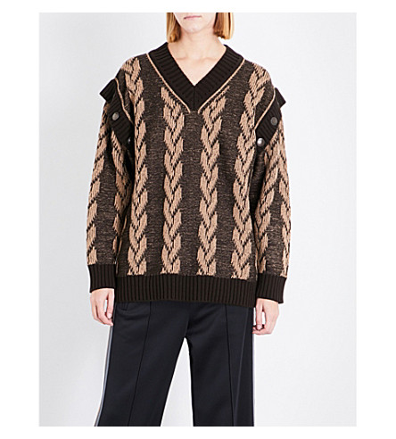 MARC JACOBS Oversized knitted cotton and cashmere-blend jumper (Camel/drk+brown