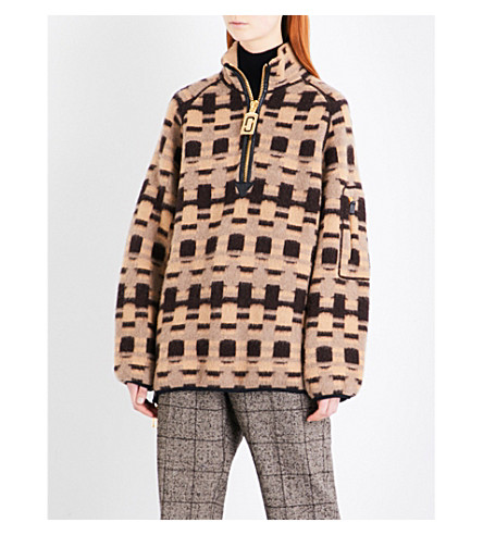MARC JACOBS Geometric-patterned cashmere and wool-blend jumper (Camel+multi