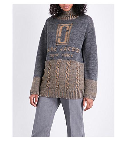 MARC JACOBS Turtleneck wool jumper (Grey/camel+mult