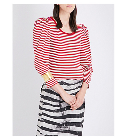 MARC JACOBS Striped puff-sleeve cotton-jersey top (Red+multi