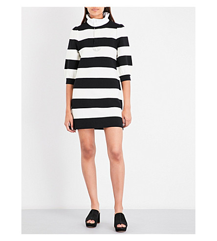 MARC JACOBS Puff-sleeve striped cotton dress (Black+multi