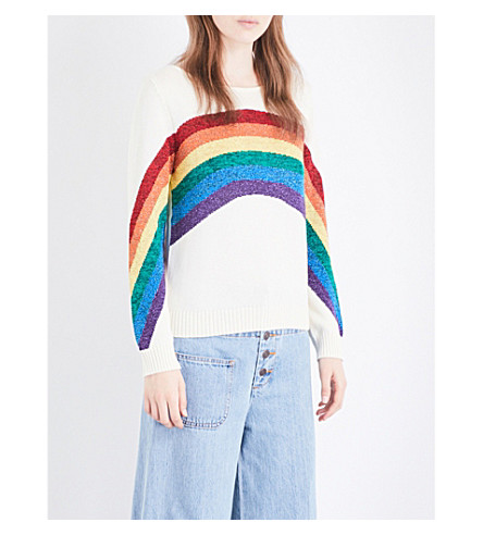 MARC JACOBS Rainbow-motif cotton-blend jumper (Ivory+multi