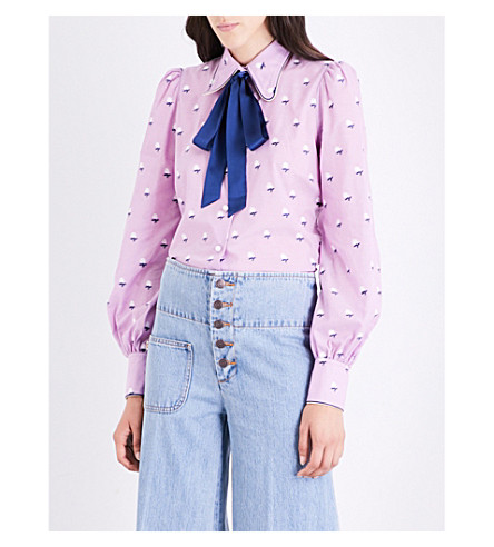MARC JACOBS Floral-embroidered cotton-voile shirt (Light+purple+multi