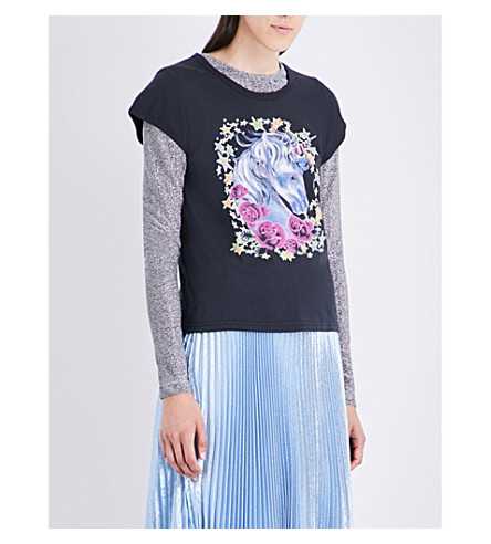MARC JACOBS Unicorn-printed cotton-jersey T-shirt (Black