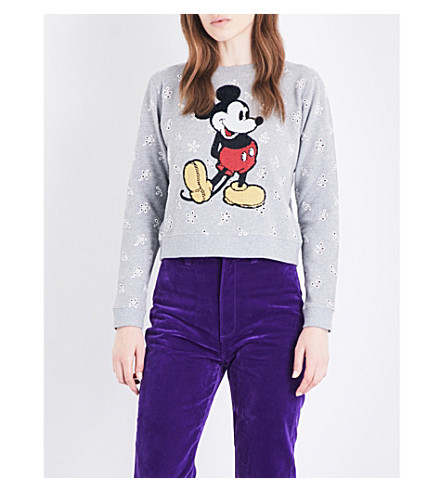 MARC JACOBS Mickey Mouse sequinned cotton-jersey sweatshirt (Grey+melange+multi